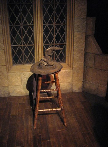 Harry Potter sorting hat on a stool.